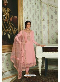 Peach Pure Tussar Silk Partywear Designer Suit Straight Cut Pants, Designer Salwar Suits, Pink Accessories, Saree Look, Indian Ethnic Wear, Suits For Women, Dress Making, Party Wear, Pure Products
