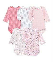 Set of 5 baby girls' long-sleeved bodysuits