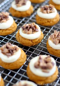 Heath Bar Pumpkin Cookies with cream cheese frosting