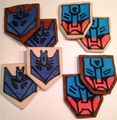 Transformer Cookies - Vanilla and Chocolate Sugar Cookies Decorated as Autobots and Decepticons