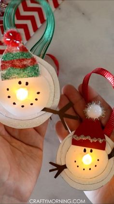 Melted Snowman Tea Light Ornaments- fun christmas craft for kids to make! Homema… Melted Snowman Tea Light Ornaments- fun christmas craft for kids to make! Diy Christmas Arts And Crafts, Christmas Ornament Crafts, Snowman Crafts, Xmas Crafts, Diy Christmas Gifts, Christmas Fun, Snowman Ornaments, Kids Ornament, Wood Crafts