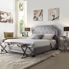 Grace Button Tufted Arched Bridge Upholstered King Bed by INSPIRE Q - 15618715 - Overstock.com Shopping - Great Deals on INSPIRE Q Beds