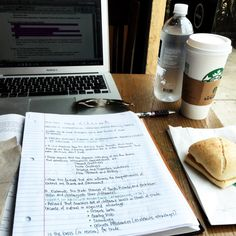 wildlyzealousphilosopher:  One hour of study coming up at starbucks featuring a Venti Non-Fat Caramel Macchiato and a Bacon Gouda Sandwich. :D