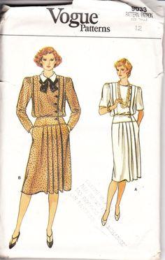 1980's Vogue Pattern 9033 misses dress size 12 by VintHill on Etsy