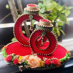 Ring ceremony tray made up with MDF wooden and pure gaji silk fabric enhance with foam flowers and copper pearls. Diy Diwali Decorations, Marriage Decoration, Wedding Stage Decorations, Engagement Decorations, Indian Wedding Gifts, Desi Wedding Decor, Wedding Crafts, Diy Wedding, Ring Holder Wedding