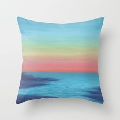 Large abstract print of original sunset painting by Denise Cunniff. Ideal for beach decor. Colors in this artwork include teal blue, navy blue, coral, pink, yellow, and a hint of green in the sky. An easy and fun way to add more color & style to your home or office decor... choose wall art (canvas prints, prints on fine art paper, or wall tapestries) or functional art (laptop covers, duvet covers, shower curtains, pillows, rugs, etc.).<br/> <br/> ☼ Title of this piec...