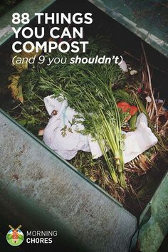 Organic Gardening Ideas 88 Everyday Things You Can Compost (and 9 You Shouldnt) - You'll be surprised to find that you have items to compost all over the house. But, be sure to know which ones you can't compost. Permaculture, Composting 101, Garden Compost, Vegetable Gardening, Veggie Gardens, Flower Gardening, Fairy Gardening, Herb Garden, Garden Art