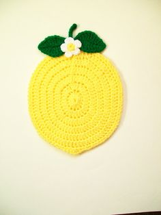 Crochet Lemon Fruit Pot Holder Hot Pad Potholder Handmade Kitchen Kitchenwares Decor