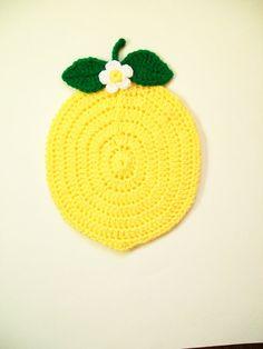 Crochet Lemon Fruit Pot Holder Hot Pad Potholder Handmade Kitchen Kitchenwares Decor