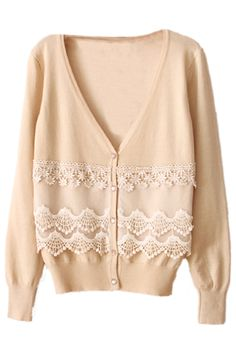 ROMWE   V-neck Lace Trimmings Cream Cardigan, The Latest Street Fashion