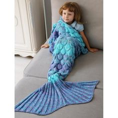Home Decor Crochet Fish Scale Knit Mermaid Blanket Throw For Kids | TwinkleDeals.com