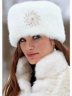 Russian white fur snow hat for ladies | Fashion World