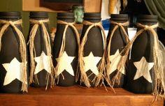 Mini primitive milk bottles made from Starbucks frappucinno bottles.
