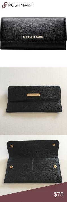 Michael Kors slim wallet Black pebble leather wallet.  Euc Michael Kors Bags Wallets