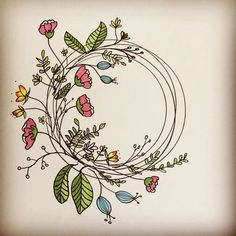 Trendy Floral Wreath Trendy Flowers Wreath Doodle Amazing Step by Step Flower Doodles for Bujo Addicts - Crazy LauraWould you like to add some cute floral doodles to your Bullet Journal ? Karten Diy, Wreath Drawing, Flower Doodles, Doodle Flowers, Daisy Flowers, Faux Flowers, Lotus Flower, Vintage Flowers, Spring Flowers