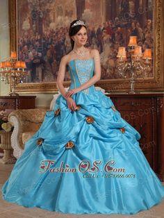 Lovely Sky Blue Quinceanera Dress Strapless Taffeta Beading and Hand Made Flowers Ball Gown  http://www.fashionos.com   quinceanera dress cheap | brand new quinceanera dress |