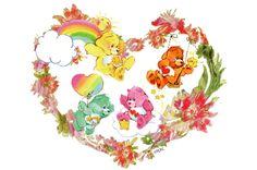 Care Bears: Funshine, Wish, Love-a-Lot and Tenderheart Bear in a Flower Heart