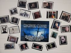 """Monster Match"" library display/contest used as a Halloween tie-in to this year's Teen Read Week theme, ""It Came from the Library."" Students identify the name of the movie in which the monster appears. #library displays"