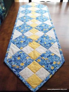 Blue Yellow Table Runner Quilted Patchwork by . - Blue Yellow Table Runner Quilted Patchwork by … Patchwork Table Runner, Table Runner And Placemats, Quilted Table Runners, Quilted Table Runner Patterns, Yellow Table, Yellow Desk, Place Mats Quilted, Quilted Table Toppers, Handmade Table