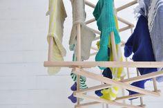 Le Dans La washing on wooden clothes horse