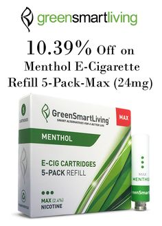 GreenSmartLiving menthol flavored electronic cigarette cartridges blend that popular minty taste with a nicotine loaded vapor, soothing the senses and relaxing the body. Get 10.39% discount on Menthol Refill 5-Pack Was $13.95 NOW $12.50!.Snap up now and avail this offer. For more GreenSmartLiving Coupon Codes visit:  http://www.couponcutcode.com/coupons/save-15-off-on-menthol-high-nicotine-strength/