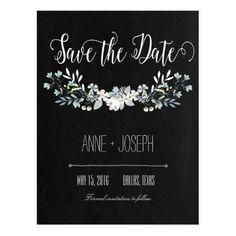 Rustic Floral dark Save the Date III Postcard
