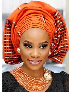 Orange on Black - Attaché foulards Gélé Headwrap - Latest African Fashion African Dresses For Women, African Attire, African Wear, African Women, Ghanaian Fashion, Nigerian Fashion, Afro, Turbans, Headscarves