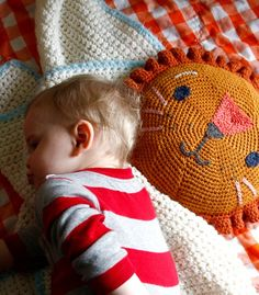 crochet lion pillow how to