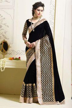 Black Art Silk Party Wear Saree
