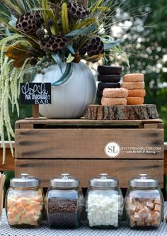 Warm up this Fall with a hot chocolate bar. Add seasonal favorites like apple cider donuts and caramels for a special touch.