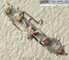 Antique Victorian 925 Sterling Silver and Rose Gold ivy leaf Sweetheart Brooch by Able and Charnell Hallmarked for Birmingham, 1900
