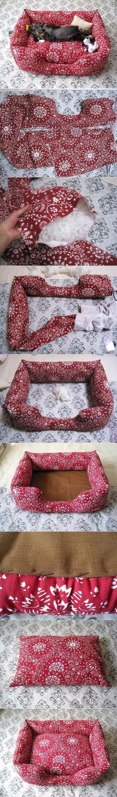 DIY Fabric Pet Sofa Not my fabric choice but this looks like something even THIS non-crafty person could do. Especially nice to make and donate to shelters.