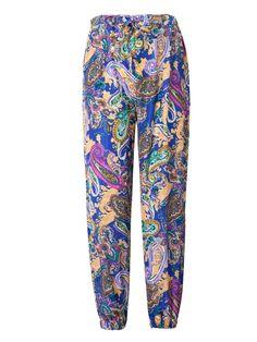 Women Beach Elastic Waist Floral Loose Harem Pants