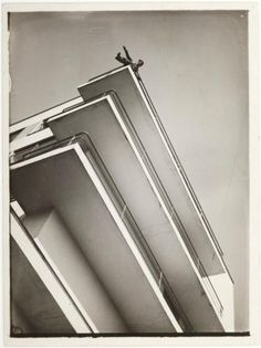 "progressivepieces:  "" Xanti Schawinsky on a Bauhaus Balcony  Laszlo Moholy-Nagy  c.1928  """