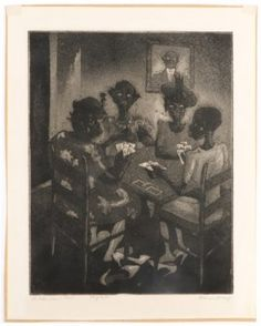 """Blanche McVeigh Signed Aquatint, """"Idle Hour Club"""" : Lot 912"""