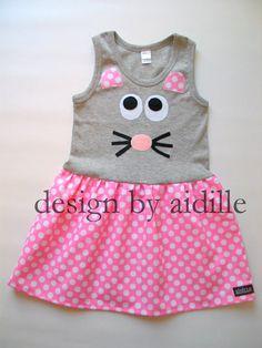 Girls Tshirt Dress Mouse Tank Top Dress.