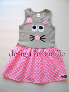 Girls Tshirt Dress Mouse Tank Top Dress.