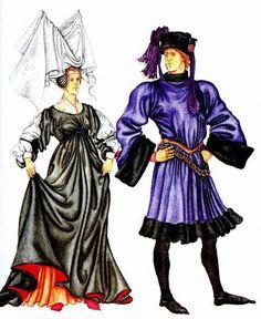 Бургундская мода (15 в). на женщине: платье-роб, двурогий чепец с покрывалом в виде паруса; на мужчине: пурпуэн с расширенными рукавами