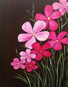 Easy canvas paintings flowers pixshark images beautiful display of tropical looking flowers painted in pinks on a black background really make the flowers pop mightylinksfo
