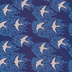 Cloud 9 - Whitehaven by Feena Brooks - Whitehaven in Navy Organic by Bobbie Lou's Fabric Factory Fabric Factory, Fabric Birds, Cloud 9, Modern Fabric, Textures Patterns, Design Patterns, Print Patterns, Surface Design, Surface Pattern