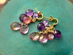 The Ballerina- cluster earrings.Topaz,Amethysts,Ametrine and CZ's dancing together in a joyous summer dance.
