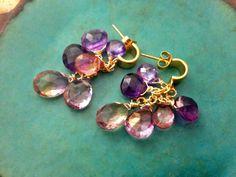 Purple cluster earrings,Dangle earrings,Amethyst,Topaz,Ametrine earrings,24k gold vermeil post earrings,purple gemstone,drop earrings,Bridal