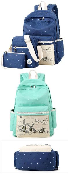 Sweet Wave Point Printing Windmills Travel Rucksack Lace Canvas Dot School Backpack for my sister ! #canvas #dot #school #Bag #backpack #travel #rucksack