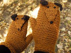 SAUSAGE DOG MITTENS Gloves Dachshund Crochet Autumn Winter Animals Fingerless Hand Warmers Brown Kids Adults Wool Free Shipping Worldwide. $39.99, via Etsy.