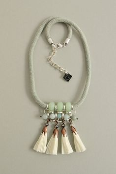 White Tassel Necklace Beaded Necklace Statement by gudbling