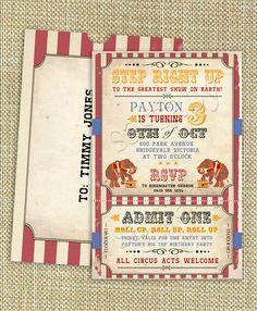 Cute vintage circus invite