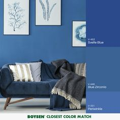 Blue, as a color, gets its popularity due to the huge impact it can create while remaining simple and timeless. Matching this shade with items from the classic white can make a room look / feel gender-neutral, crisp and calming. Room Colors, House Colors, Paint Colors, Interior Livingroom, Home Interior Design, Blue Bedroom Walls, Colour Pallette, Diy Things, Home Hacks