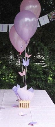 Butterfly Centerpieces with Personalized Table Decorations - Balloon Centerpieces Choice of Colors. $16.95, via Etsy.