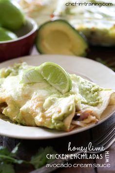 Honey Lime Chicken Enchiladas with Avocado Cream Sauce