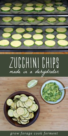 Zucchini Chips (made in a dehydrator) - Make these homemade zucchini chips in a dehydrator during the harvest season. They are easy to make, healthy, and delicious alternative to regular chips! Source by colleengfcf Dehydrated Zucchini Chips, Dehydrated Vegetables, Dehydrated Food, Zuchinni Chips, Canning Recipes, Raw Food Recipes, Gourmet Recipes, Healthy Recipes, Healthy Food Alternatives